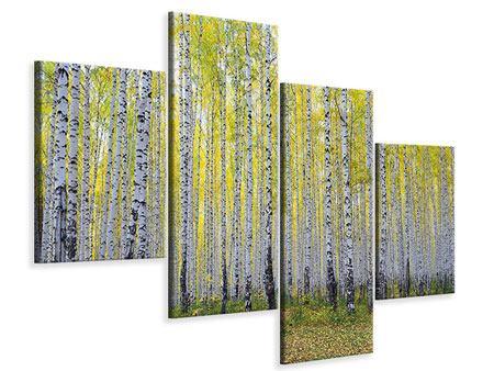 Leinwandbild 4-teilig modern Herbstlicher Birkenwald