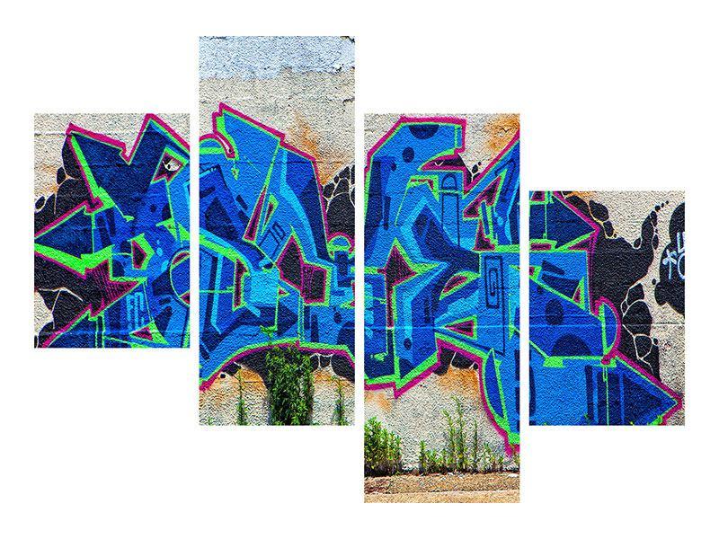 Leinwandbild 4-teilig modern Graffiti NYC