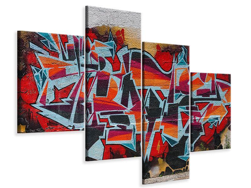 Leinwandbild 4-teilig modern New York Graffiti