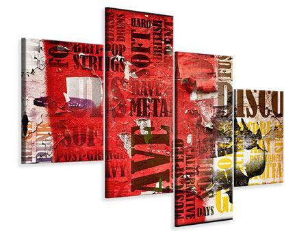 Leinwandbild 4-teilig modern Musiktext im Grungestil