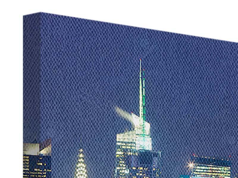 Leinwandbild 4-teilig modern Skyline New York Midtown bei Nacht