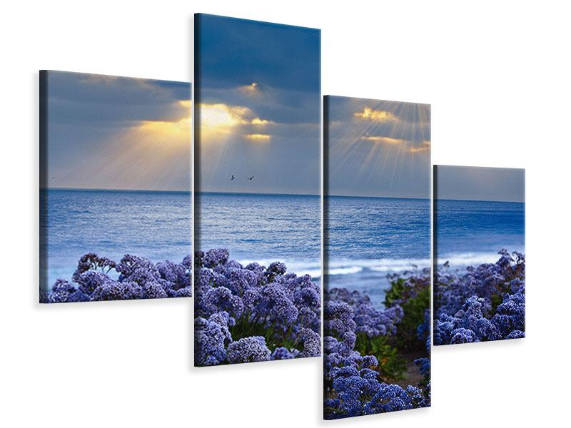 Leinwandbild 4-teilig modern Der Lavendel und das Meer
