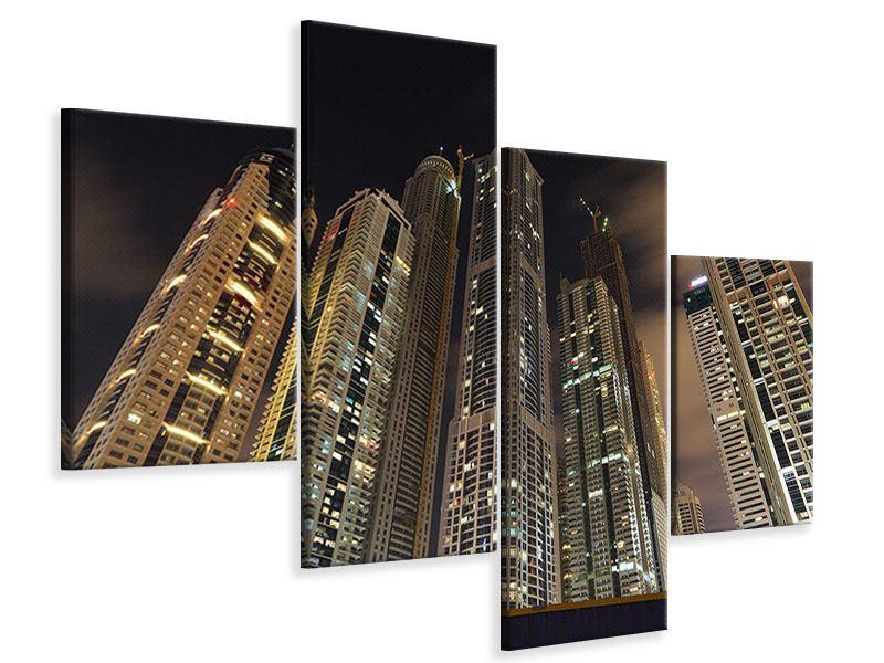 Leinwandbild 4-teilig modern Wolkenkratzer Dubai Marina
