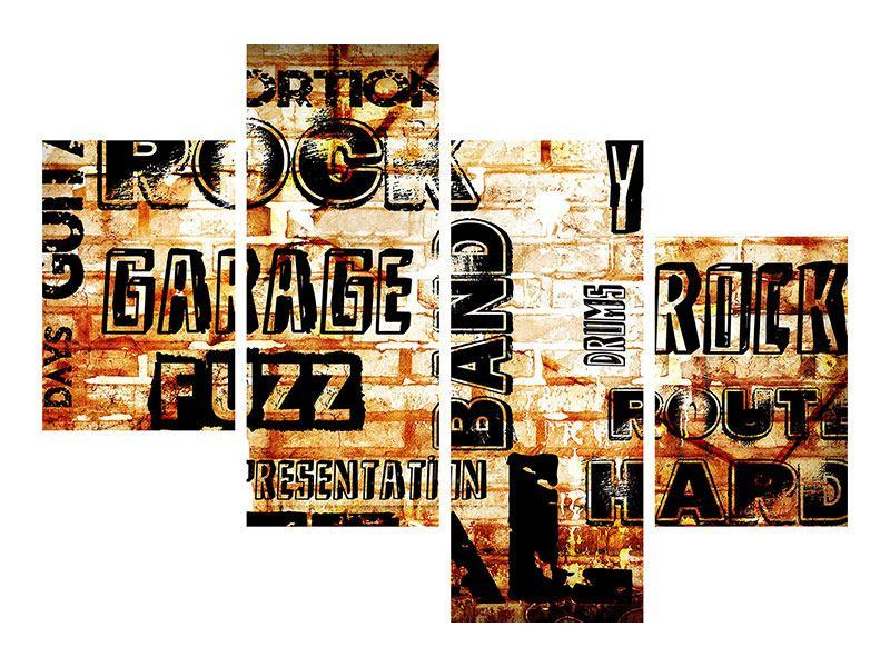 Leinwandbild 4-teilig modern Rock im Grungestil