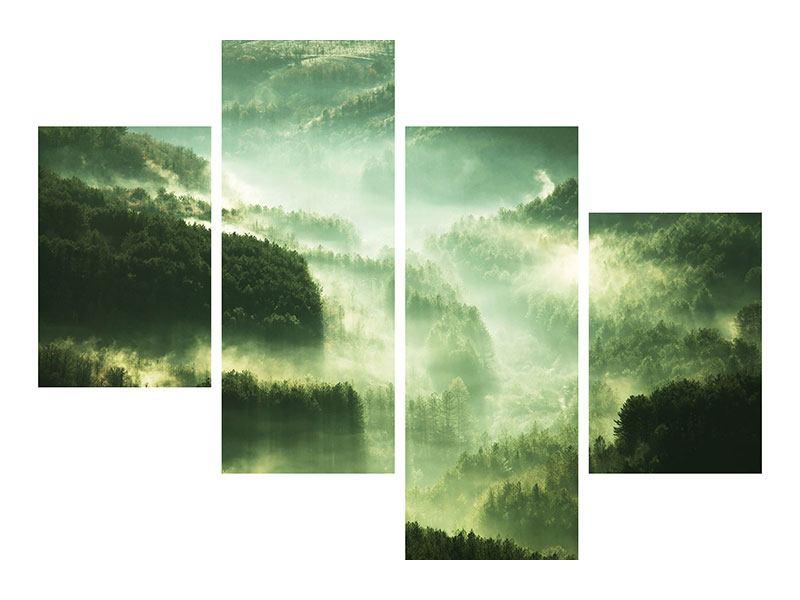 Leinwandbild 4-teilig modern Über den Wäldern