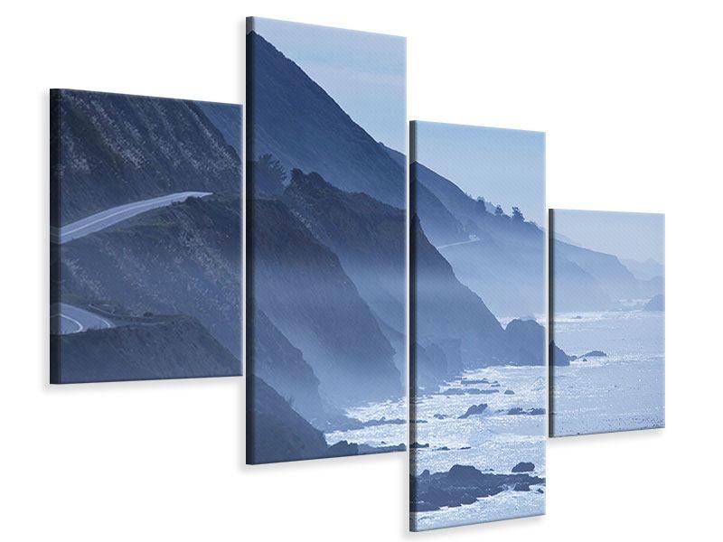 Leinwandbild 4-teilig modern Bewegung im Wasser