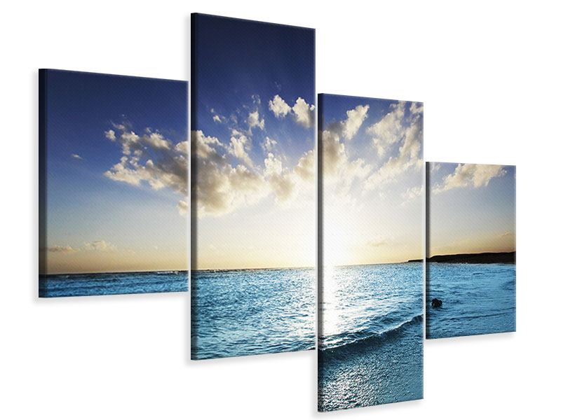 Leinwandbild 4-teilig modern Das Meer im Sonnenaufgang