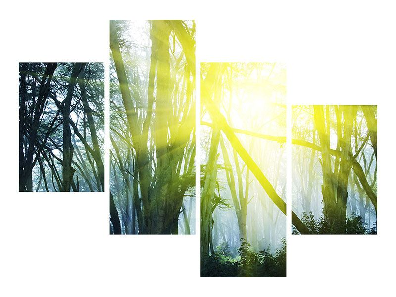 Leinwandbild 4-teilig modern Sonnenstrahlen im Wald