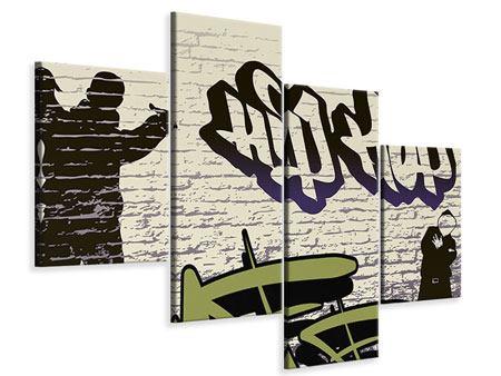 Leinwandbild 4-teilig modern Graffiti Hip Hop