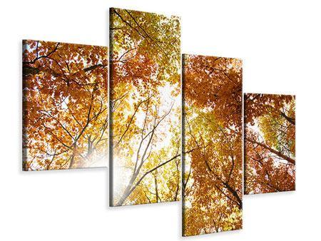 Leinwandbild 4-teilig modern Herbstbäume