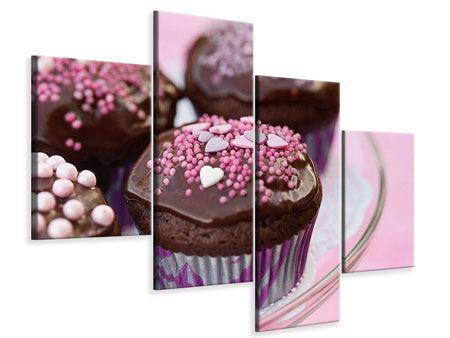 Leinwandbild 4-teilig modern Muffins