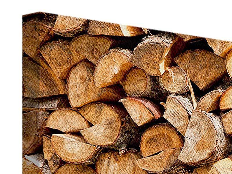Leinwandbild 4-teilig modern Gestapeltes Holz
