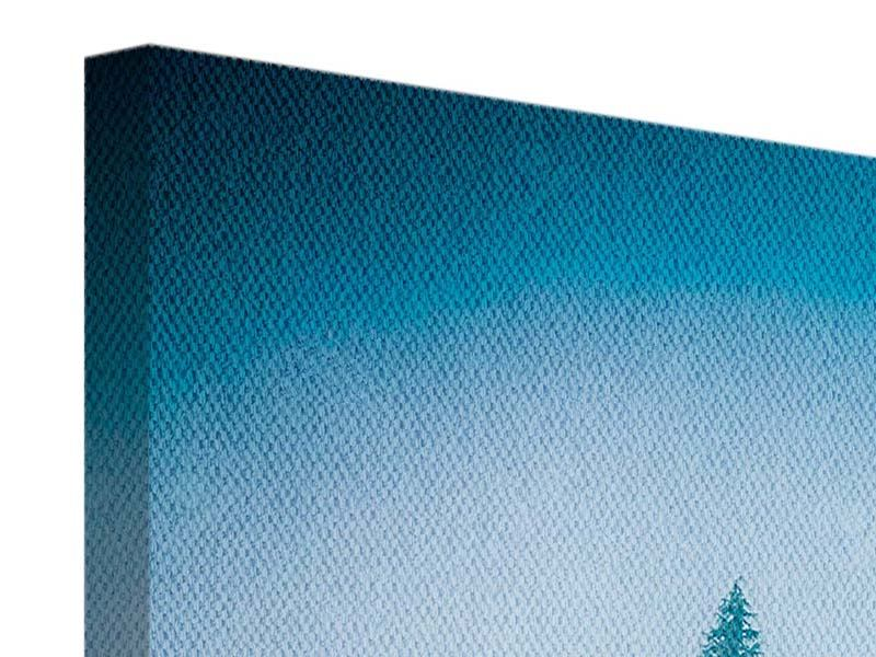 Leinwandbild 4-teilig modern Geheimnisvoller Wald