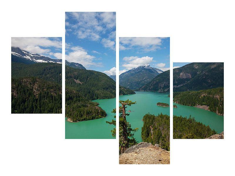 Leinwandbild 4-teilig modern Diablo Bergsee