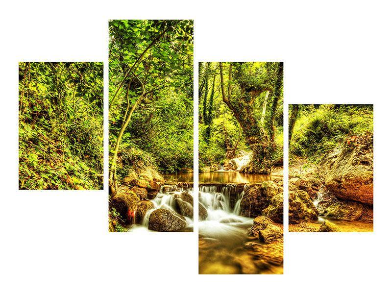 Leinwandbild 4-teilig modern Wasserfall im Wald