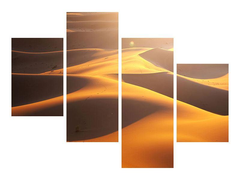 Leinwandbild 4-teilig modern Wüstenwanderung