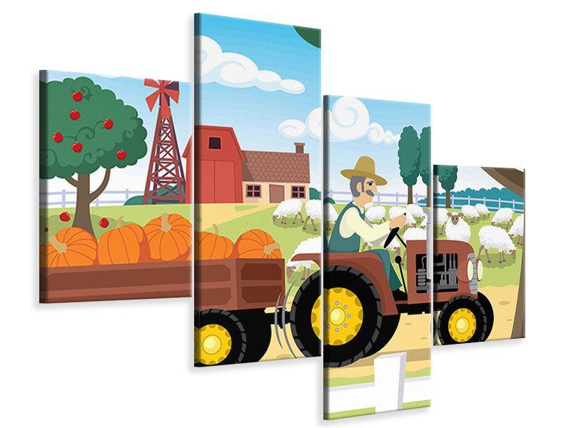 Leinwandbild 4-teilig modern Bauernhof