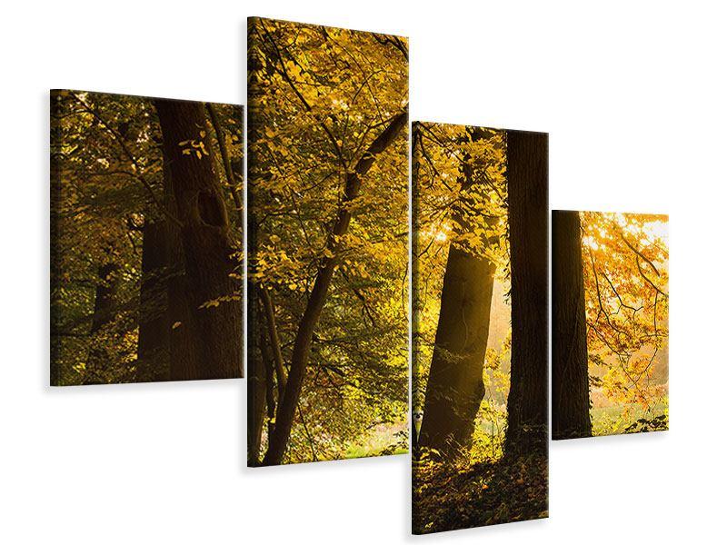 Leinwandbild 4-teilig modern Herbstlaub