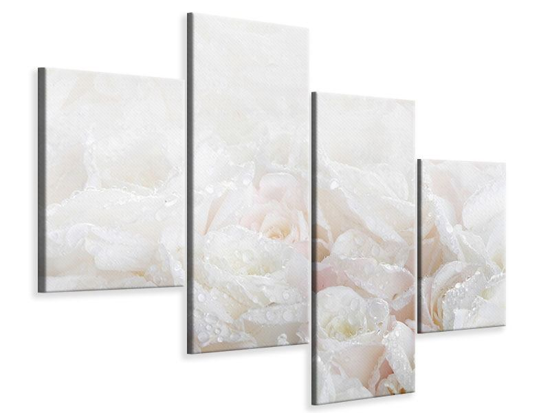 Modern 4 Piece Canvas Print White Roses In The Morning Dew