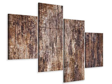 Leinwandbild 4-teilig modern Retro-Holz