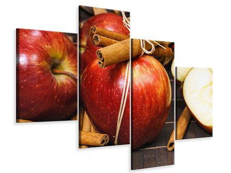 Leinwandbild 4-teilig modern Äpfel
