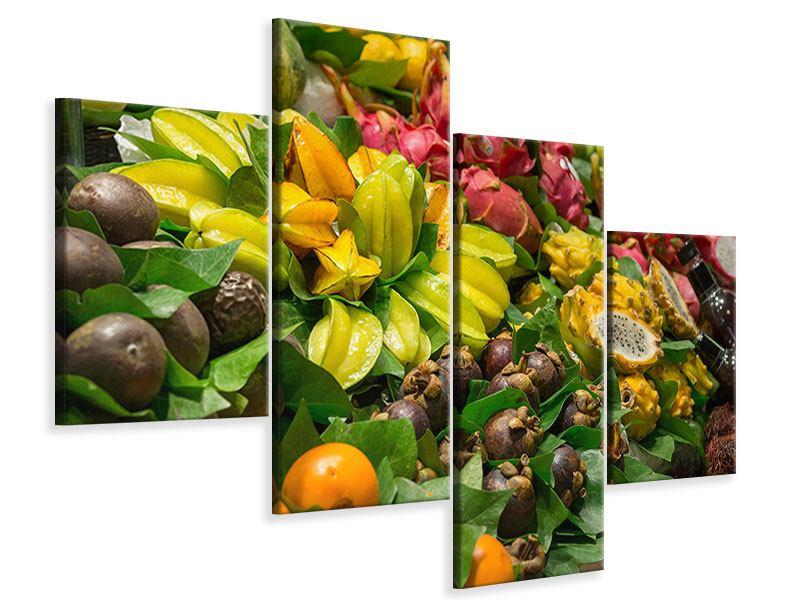 Leinwandbild 4-teilig modern Früchte