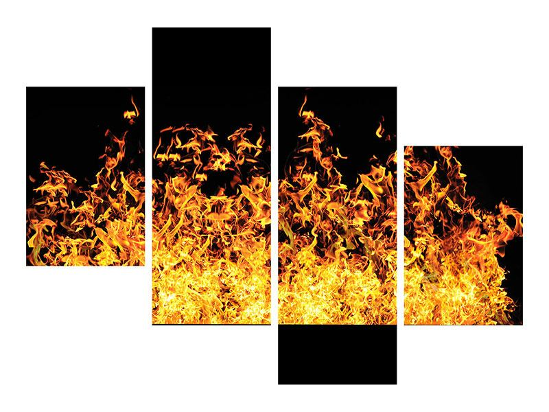 Leinwandbild 4-teilig modern Moderne Feuerwand