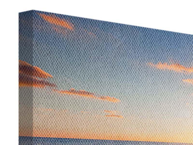 Leinwandbild 4-teilig modern Sonnenuntergang am Horizont