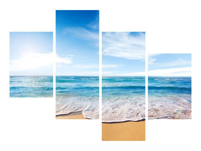 Leinwandbild 4-teilig modern Spuren im Sand