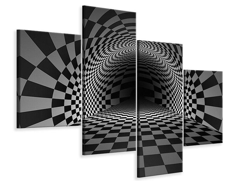 Leinwandbild 4-teilig modern Abstraktes Schachbrett
