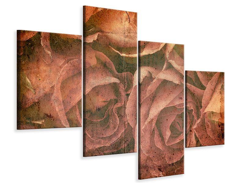 Leinwandbild 4-teilig modern Rosenbukett