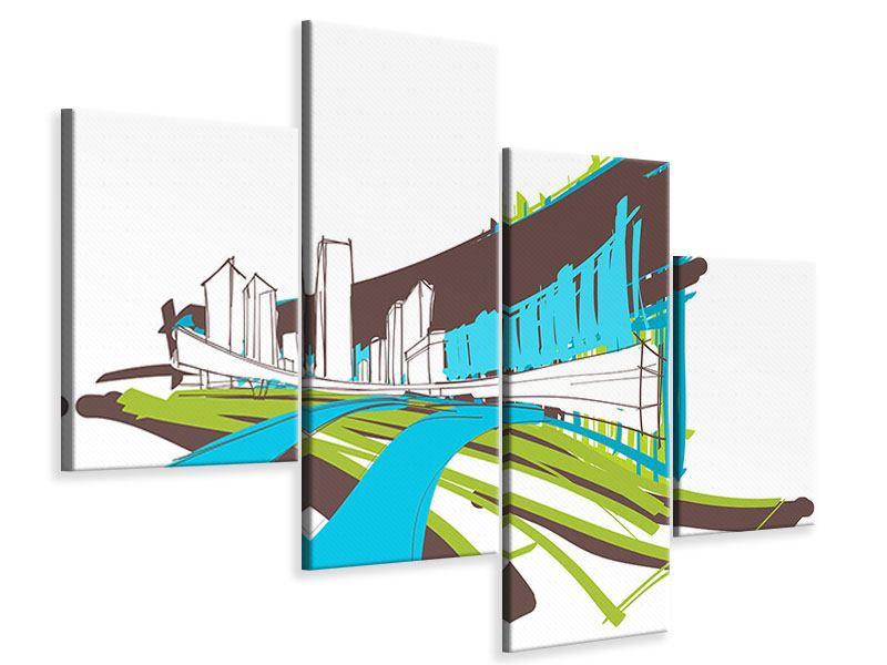 Leinwandbild 4-teilig modern Graffiti Street-Art