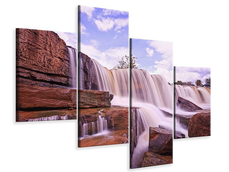Leinwandbild 4-teilig modern Himmlischer Wasserfall