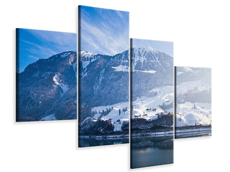 Leinwandbild 4-teilig modern Winterwunderland