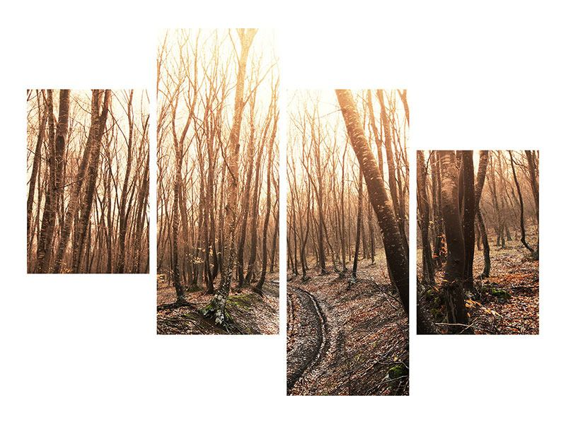 Leinwandbild 4-teilig modern Der kahle Wald