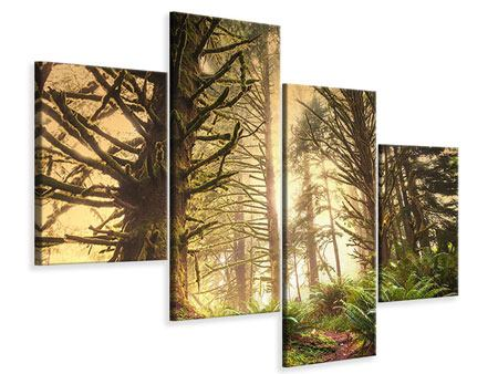 Leinwandbild 4-teilig modern Sonnenuntergang im Dschungel