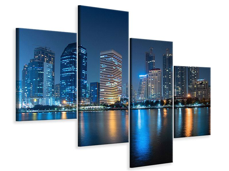 Leinwandbild 4-teilig modern Skyline Bangkok bei Nacht