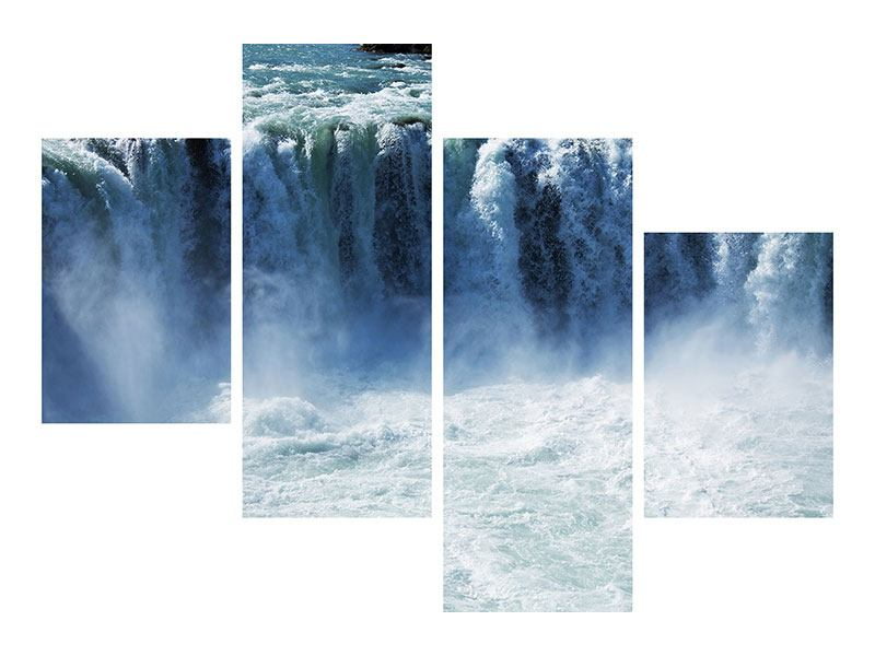 Leinwandbild 4-teilig modern Mächtiger Wasserfall