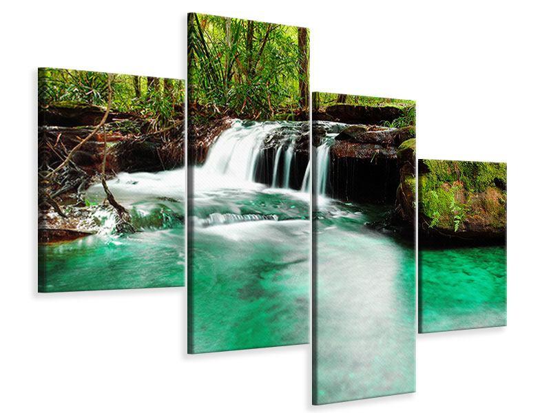 Leinwandbild 4-teilig modern Der Fluss am Wasserfall