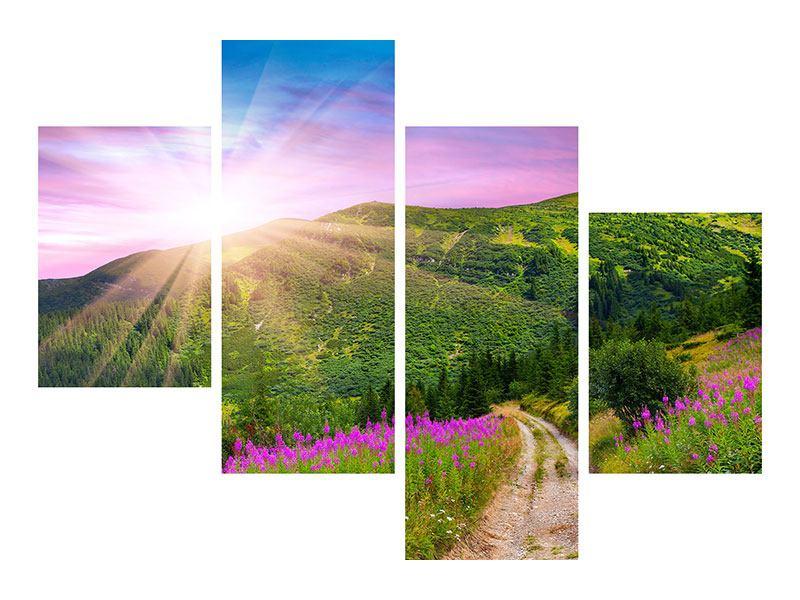 Leinwandbild 4-teilig modern Eine Sommerlandschaft bei Sonnenaufgang