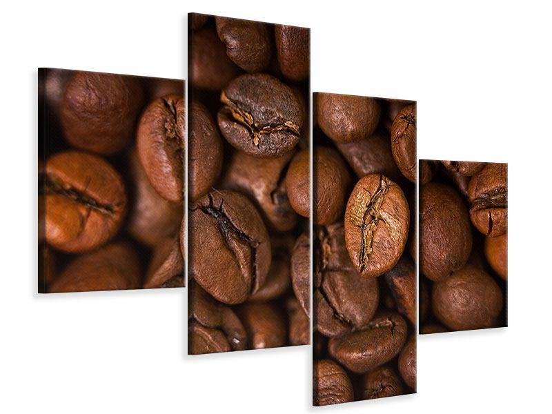 Leinwandbild 4-teilig modern Close Up Kaffeebohnen