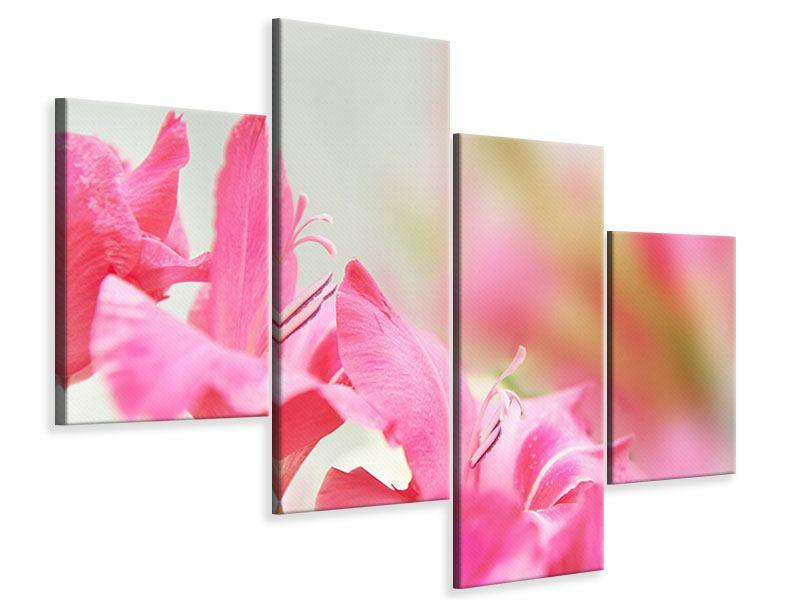 Leinwandbild 4-teilig modern Gladiolen