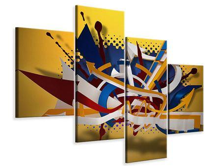 Leinwandbild 4-teilig modern Graffiti Art