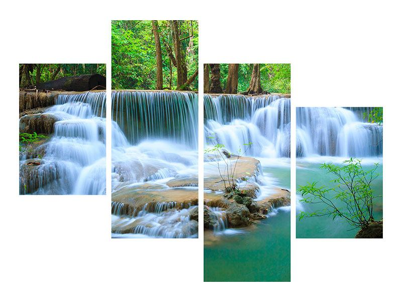 Leinwandbild 4-teilig modern Kaskaden Huay Mae Khamin