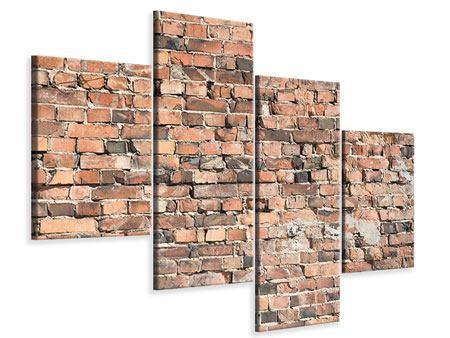Leinwandbild 4-teilig modern Alte Backsteinmauer