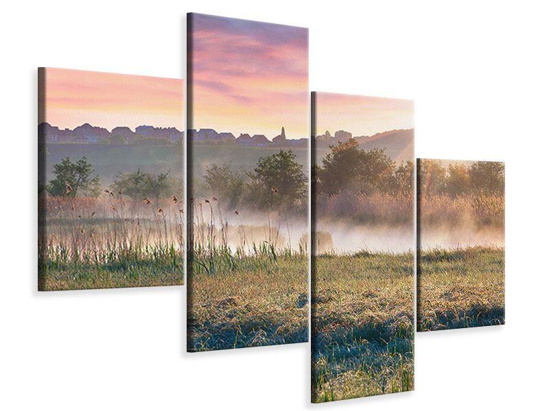 Leinwandbild 4-teilig modern Sonnenuntergang am Hügel