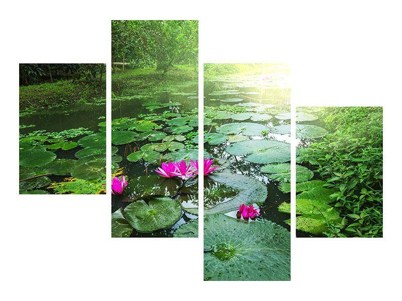 Leinwandbild 4-teilig modern Gartenteich