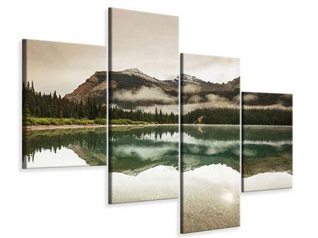 Leinwandbild 4-teilig modern Spiegelung im Glacier Nationalpark