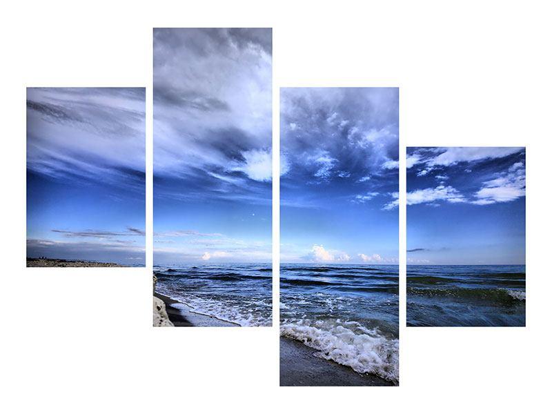 Leinwandbild 4-teilig modern Strandwellen