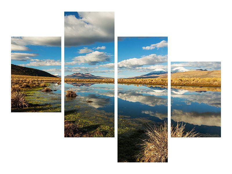 Leinwandbild 4-teilig modern Wasserspiegelung am See